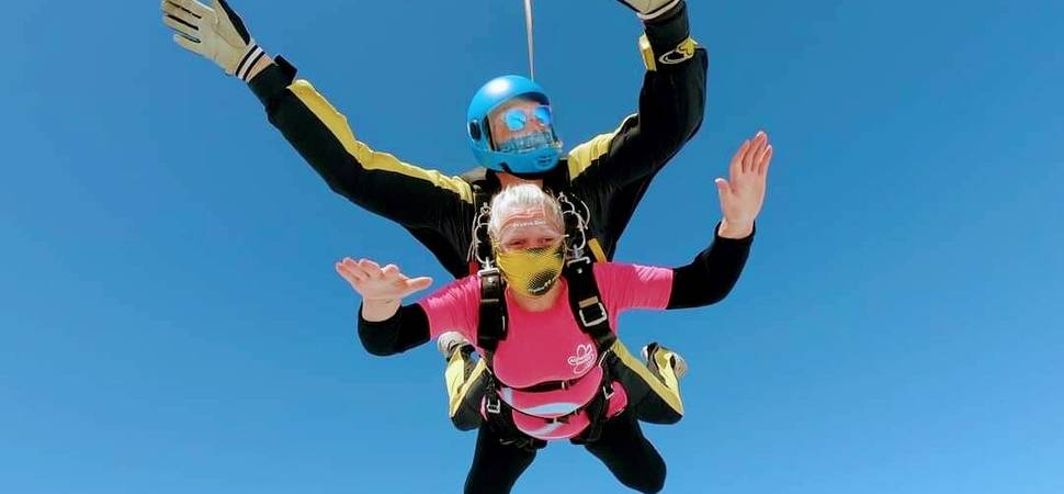 Cheryl takes to the skies again for Oake Meadows care home