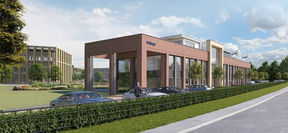 Construction resumes on new Bellway HQ at AirView Park