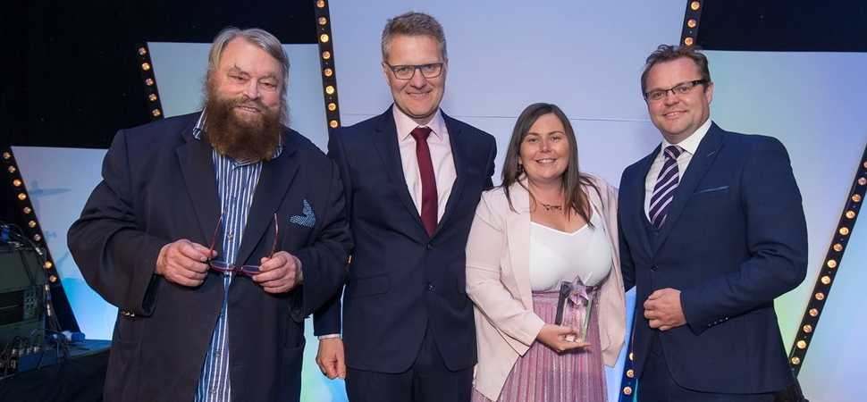 Actor Brian Blessed presents Carlisle sales executive with national award