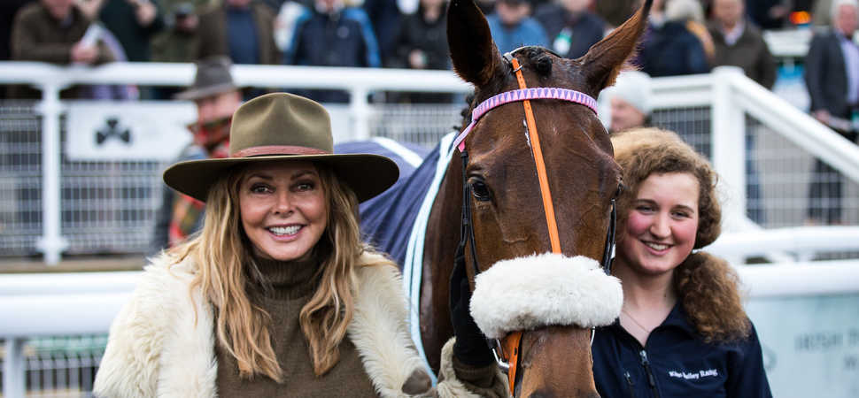Carol Vorderman cheers on her winning horse at Chepstow