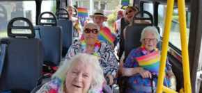Care home residents fly the flag for Shoreham at Worthing Pride