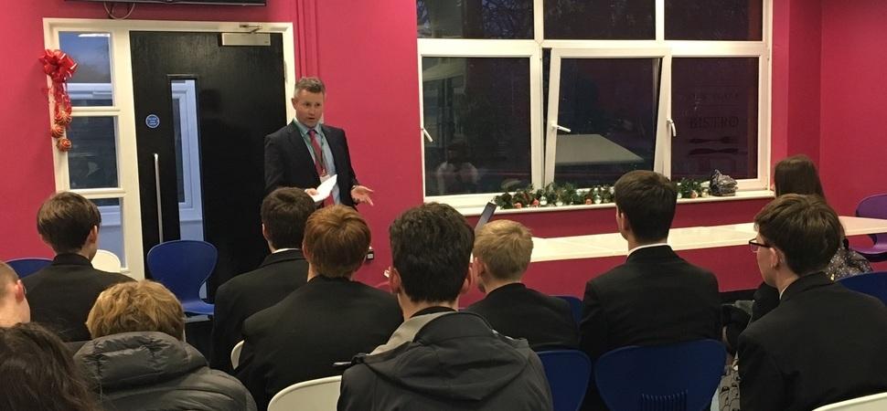 Former pupil returns to deliver legal careers talk at Liverpool school