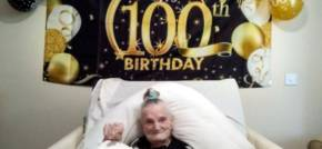 Talented seamstress celebrates 100th birthday with cake and karaoke!