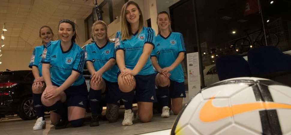 Bristol Street Motors shoots and scores for Brislington Ladies FC