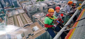 Newham trampoline park marks charity partnership with abseil attempt