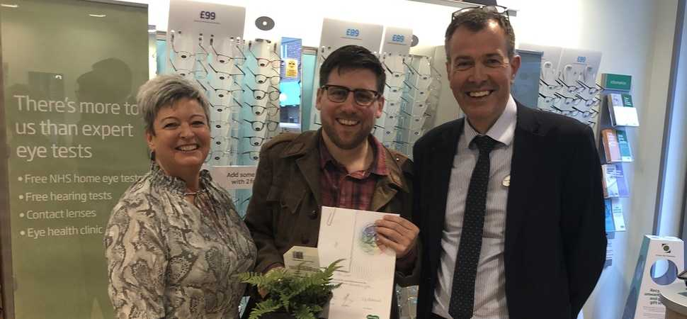 Local opticians celebrates colleagues two decades of loyalty