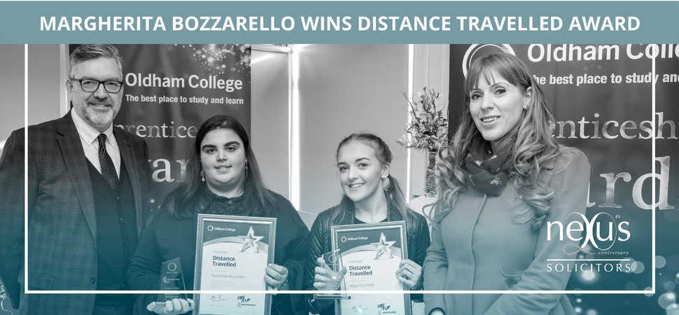 Margherita Bozzarello takes home a win for Nexus Solicitors at the Oldham College Apprenticeship awards