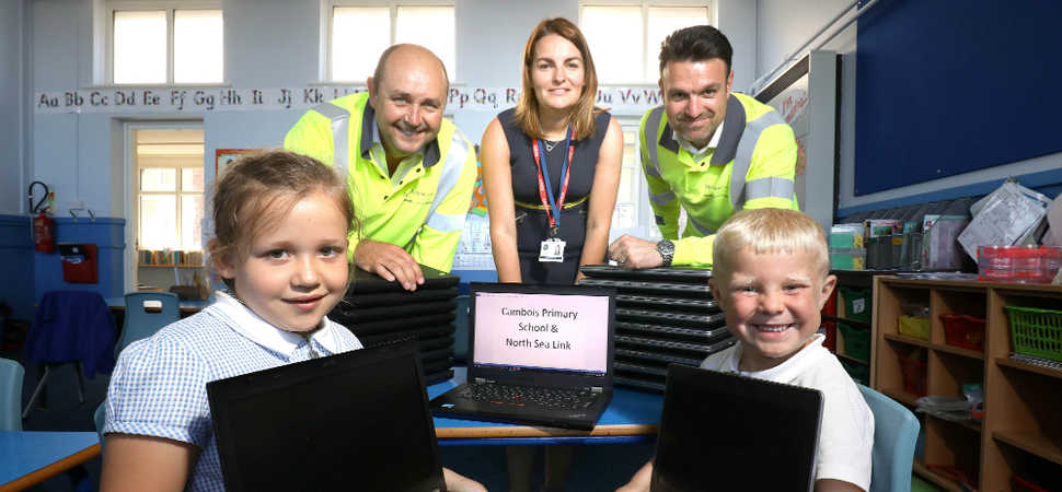 Cambois Primary School receives second donation of laptops from North Sea Link