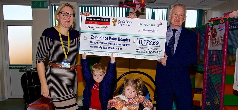 Liverpool law firm donates over £11,000 to Zoe's Place
