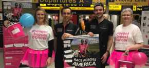 Cycling pair fundraise at Manchester Airport for Race Across America