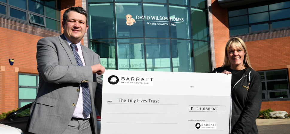 Local housebuilder raises over £11,000 for Newcastle charity, Tiny Lives