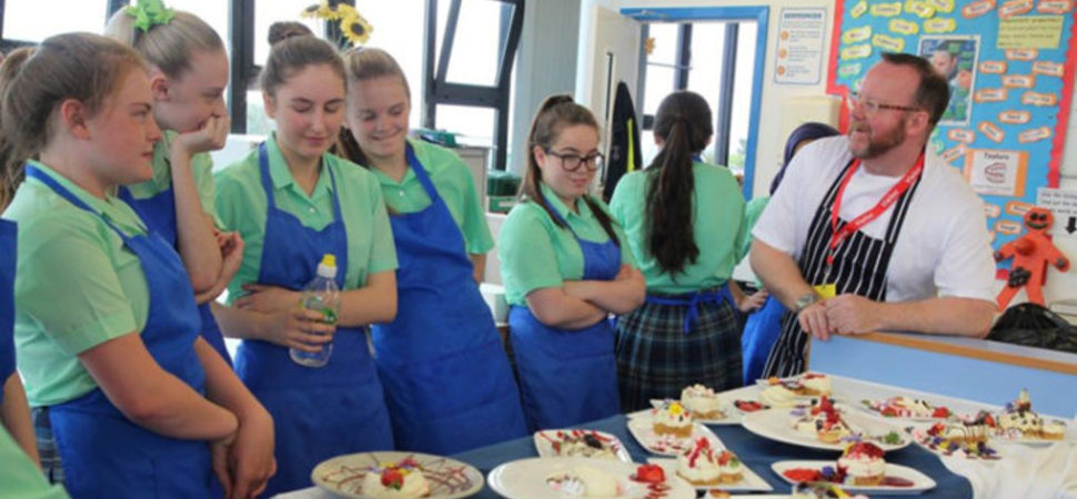 Liverpool's most acclaimed & innovative chef takes dessert lesson at St. Julie's