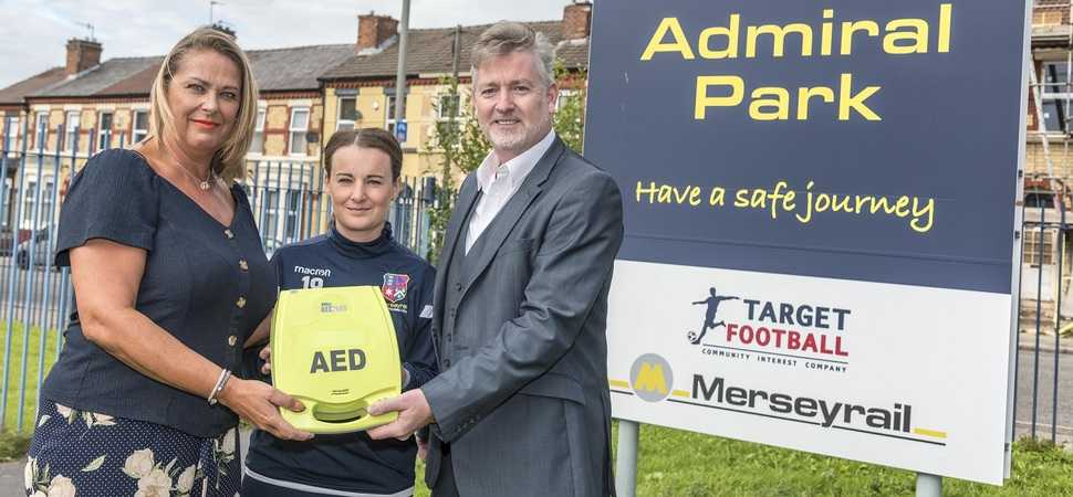 Merseyrail Ladies FC receives defibrillator donation after death of players brother