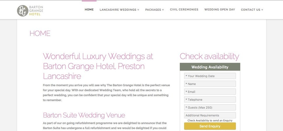Preston's Barton Grange Hotel Wins Top Wedding Venue in Lancashire Award