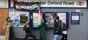 Commuters welcomed to 'WoManchester' Oxford Road